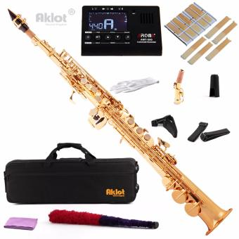 Aklot Bb Soprano Saxophone Sax Gold Lacquered Brass Body with Tunerand Reeds - intl