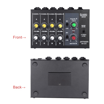 ammoon AM-228 Ultra-compact Low Noise 8 Channels Metal Mono StereoAudio Sound Mixer with Power Adapter Cable Outdoorfree - 3