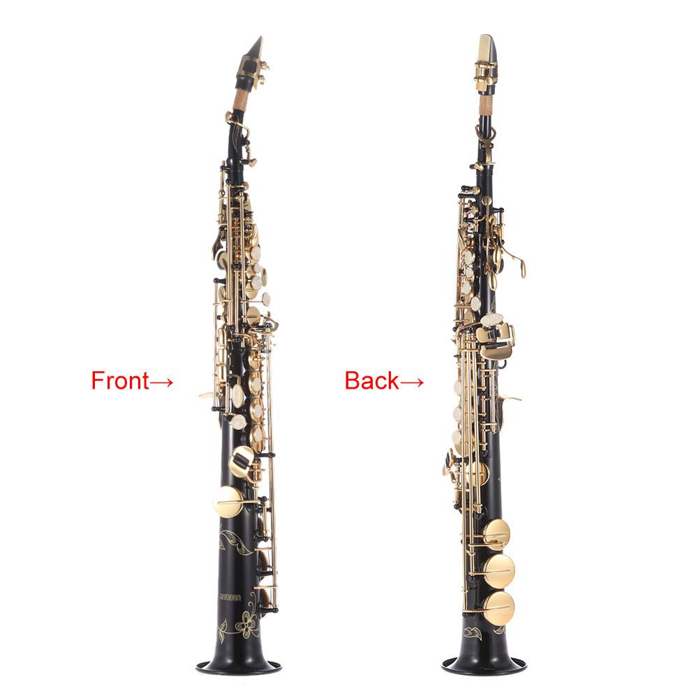 ammoon Brass Straight Soprano Sax Saxophone Bb B Flat Woodwind Instrument Natural Shell .