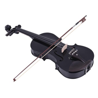 ammoon Full Size 4/4 Acoustic Electric Violin Fiddle Solid WoodBody Ebony Fingerboard Pegs Chin Rest Tailpiece with Bow Hard CaseTuner Shoulder Rest Rosin Extra Strings & Bridge Black Color -intl - 2