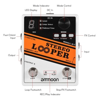 ammoon STEREO LOOPER Loop Record Guitar Effect Pedal 10 Independent Loops Max. 10min Recording Time for Each Loop Unlimited Overdubbing - intl - 4