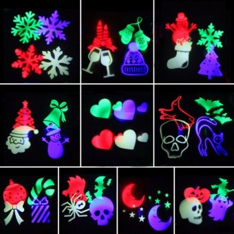 Christmas Halloween Laser Projector LED Stage light Waterproof 10Replaceable Patterns Holiday Party Landscape Decoration lights -intl - 2