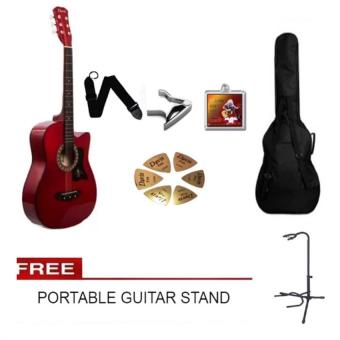 Davis Acoustic Guitar Starter Package (Red) with FREE Guitar Stand