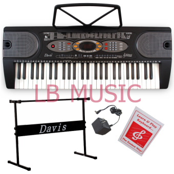 Davis D-208 54-Keys Digital Electronic Keyboard Piano Organ w/stand Package (Black)