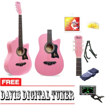 Davis Hot Picks Acoustic Guitar Package with FREE Guitar Tuner (Pink)