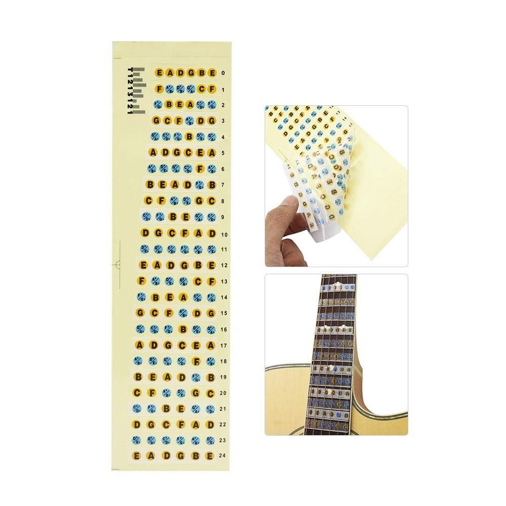 Fretboard Fingerboard Frets Note Decals Map Sticker 24 For 6String Bass Acoustic Folk Classical Electric