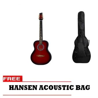 Hansen Acoustic Guitar with Free Bag (Red)