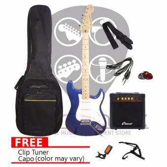 Harga Soundcheck Karmen Electric Guitar w/ 15 watts amplifier Package (Blue)