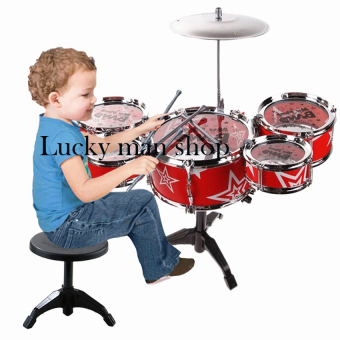 Harga USA TOP ONE LAZADA BEST Jazz Drum+Chair Kids Early Education Toy Percussion Instrument Gift (Red)