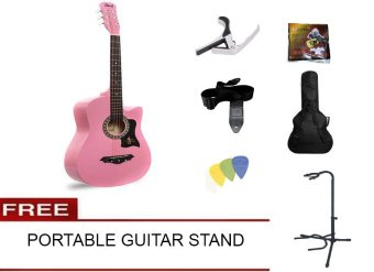 Harga Davis Acoustic Guitar Starter Package (Pink) with FREE Guitar Stand