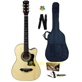 Harga Premiere Acoustic Guitar With Detachable Guitar Pick Up(Natural Wood)