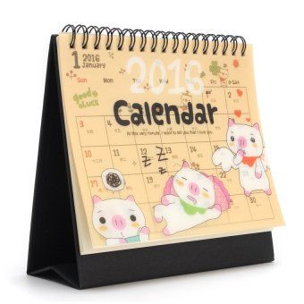 HDL New 2016 Cartoon Calendar Desk Table Office Flip Stand Planner Memo Daily Yearly
