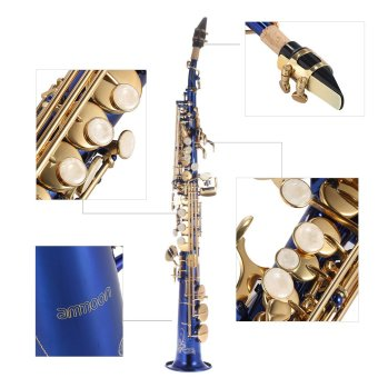 ammoon Brass Straight Soprano Sax Saxophone Bb B Flat Woodwind Instrument Natural Shell Key Carve Pattern with Carrying Case Gloves Cleaning Cloth Straps Grease Cleaning Rod Price Philippines