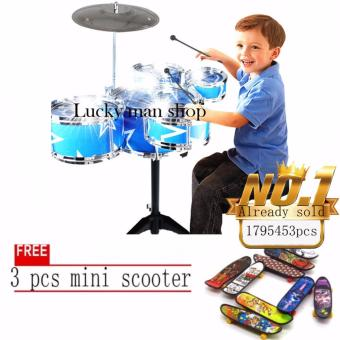 JAPAN and USA best selling free 3pcs mini scooter Jazz Drum+ChairKids Early Education Toy Percussion Instrument Gift - 2