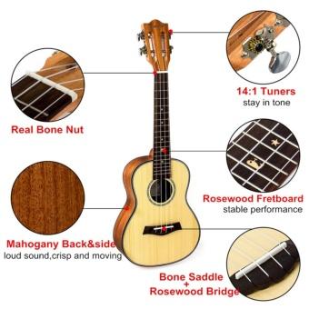 Kmise Classical Concert Ukulele Beginner Kit Solid Spruce Mahogany23 Ukelele Hawaii Guitar for Starter and FREE 9 GIFTS - intl - 3