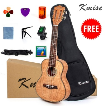 Kmise Tiger Flame Classical Concert Ukulele Starter Kit Solid Okoume 23 Ukelele Hawaii Guitar with FREE 9 GIFTS - intl