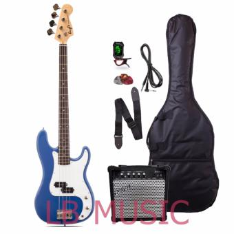 Knight electric bass guitar w/ 15watts heavy duty bass amp and tuner package (Blue)
