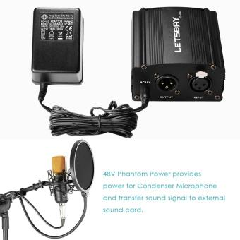LETSBAY 1- Channel 48V Phantom Power Supply Black with Adapter andOne XLR Audio Cable for Condenser Micro Recording Equipment - intl - 3