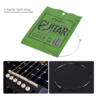 Orphee TX-1 Single String Replacement for Acoustic Folk Guitar 1stE-String (.011) 10-Pack High-carbon Steel Core 75/25 PhosphorBronze Extra Light Tension - intl - 2