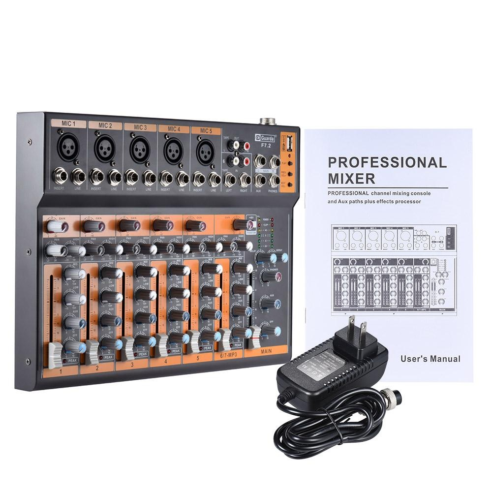 Philippines Portable 7 Channel Mic Line Audio Mixer Mixing Console 3 Band Eq Usb Interface