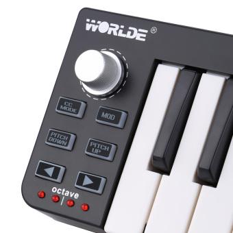 Portable Mini 25-Key USB MIDI Keyboard Controller with USB Cable - 4