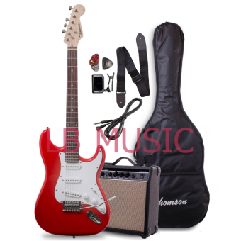 Thomson Stratocaster with 15Watts Amp Electric Guitar (Red)