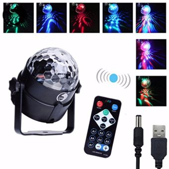 U`King Mini Disoc Rotating Magic Crystal Ball Llight LED RGB Stage Lighting Stage Disco DJ Club Voice Activated Lights (with 1 Remote Control) Black - intl Price Philippines