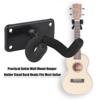 USTORE Practical Guitar Wall Mount Hanger Holder Stand Rack Hooks Fits Most Guitar Black - intl - 5