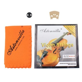 Violin 4 in 1 Set of Strings/Rubber Mute/Maple 4/4 Bridge/CleaningCloth Accessories Parts Replace Tool - 3