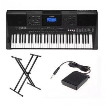 Yamaha PSRE453 61-Key Portable Keyboard with Double X KeyboardStand and Sustain Pedal