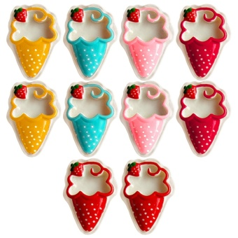 10 PCS Cute Dessert Style Fridge Refrigerator Decor Magnets StickerHome Decoration Children Education Toys Strawberry Ice Cream Style- intl