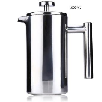 1000ML French Cafetiere Stainless Steel Insulated Coffee Tea Maker with Filter Double Wall French Press Silver - intl