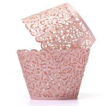 12pcs Filigree Vine Cupcake Wrappers Wraps Cases Wedding Birthday Decorations (Pink)
