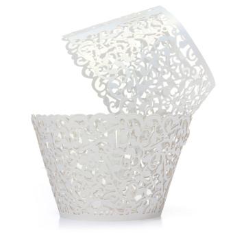 12pcs Filigree Vine Cupcake Wrappers Wraps Cases Wedding Birthday Decorations (White)