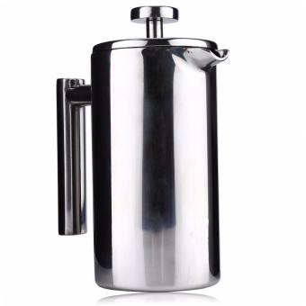 800ML French Cafetiere Stainless Steel Insulated Coffee Tea Maker with Filter Double Wall French Press Silver - intl
