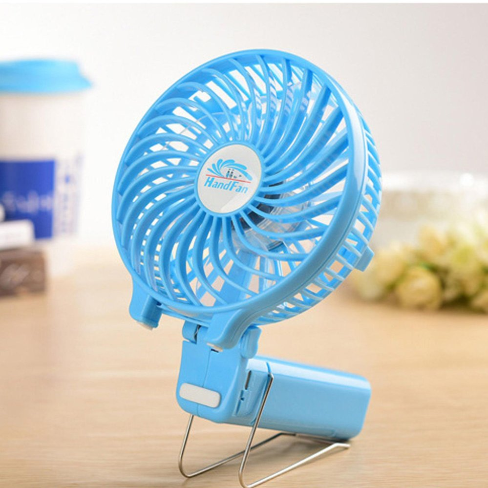 Kipas Mini Fortable Philippines Blue Portable Fan Usb Charger Battery Handy Multifunctionalfan Rechargeable Clip On Foldable