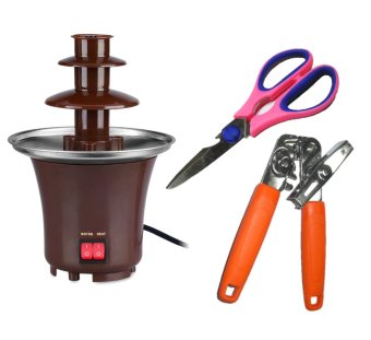 Chocolate Fondue Fountain (Brown) with Scissors and RB Can Opener