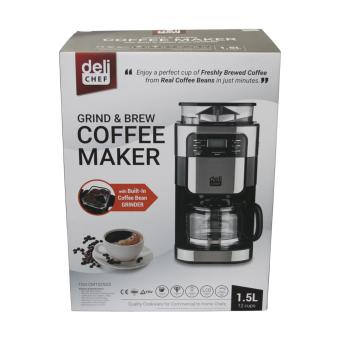 Deli Chef Grind & Brew Coffee Maker TGS-CM1025GS 1.5L(Black/Silver) - 2