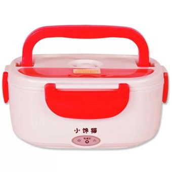Electric Lunch Box (Red) with 24-piece Stainless Spoon and Fork and Canon Series Lens Thermos Cup - picture 2