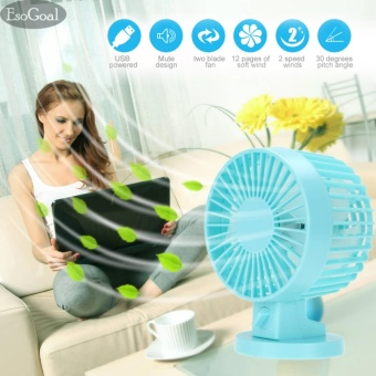 EsoGoal USB Desk Mini Fan, Quiet Table Fan 2 Speed Modes Dual Blades for Home Room Office Table,Blue - intl