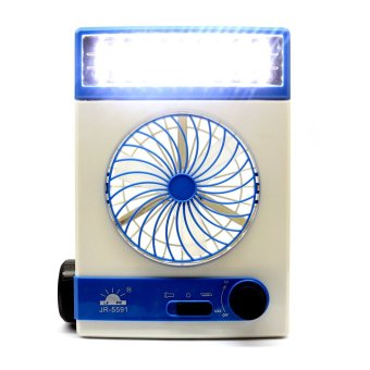 GMY HA6-3in1 3in1 Solar Power Rechargeable LED Light Fan (Blue/White)