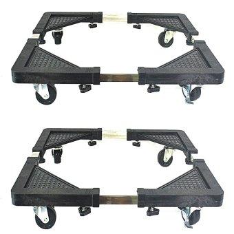 Granmerlen Multi-Functional Appliances Rack Movable Base for Washing Machine/Refrigerator (Black) Set of 2