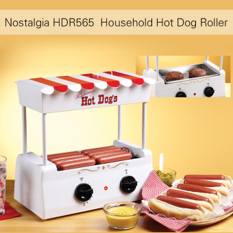 Harga Nostalgia HDR565 Old Fashioned Household Hot Dog Roller Grill Maker Hot-dog Barbecue BBQ Machine with Bun Warmer 5 Rollers - intl
