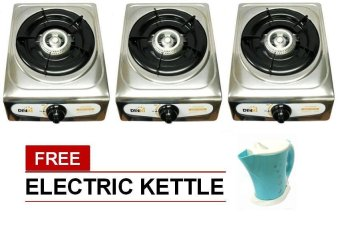 Harga Denki Single Burner Gas Stove (Chrome) Set of 3 with Free Electric Kettle