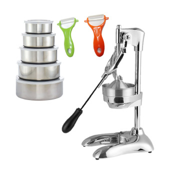 Raffles CJ-288 Commercial Citrus Lemon Manual Juicer Squeezer (Silver) with 5pc S/S Bowls and 2 pc Ceramic Peelers Price Philippines
