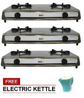 Harga Denki Double Burner Gas Stove (Chrome) Set of 3 with Free Electric Kettle