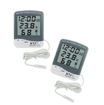 Raffles 218A Digital LCD Hygrometer with Thermometer and Clock Displays Set of 2 (White) Price Philippines