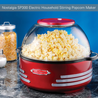 Harga Nostalgia SP300 Retro Electric Household Stirring Popcorn Maker Machine Corn Popper with Measuring Spoon Cup - intl