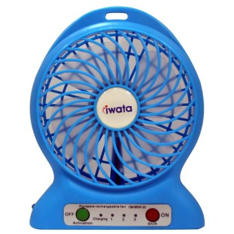 Iwata CM16RHF-03 Portable Rechargeable Fan with USB Power Bank Function (Blue)
