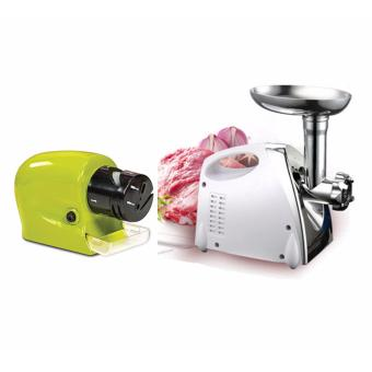 J&J 2800W Electric Meat Grinder Kitchen Steel Sausage FillerMinc Vegetableres Maker and Cordless Motorized Knife Sharpener inGreen Swifty Sharp - Green